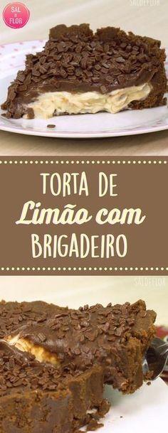 Torta de Trufa de Limão com Brigadeiro de Chocolate, maravilhosa!!