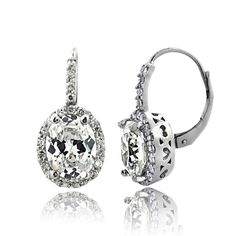 Icz Stonez 4ct TGW Cubic Zirconia Oval Halo Leverback Earrings - Overstock™ Shopping - Top Rated ICZ Stonez Cubic Zirconia Earrings