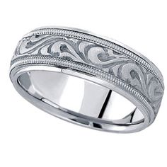 Handmade Antique Style Wedding Ring Band 14k White Gold by Allurez