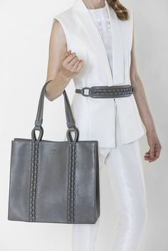 I like this Intricate hand-woven leather rope technique, which appears both in tote bag and belt.