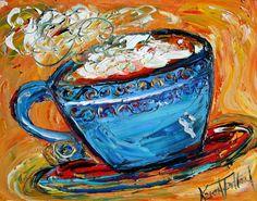 Fine art print COFFEE modern from oil painting by Karen Tarlton impressionism palette knife via Etsy Printed Coffee Cups, Cup Art, Modern Impressionism, Lion Art, Fine Art Photo, Fine Art Gallery, Fine Art Prints, Artwork, Palette Knife