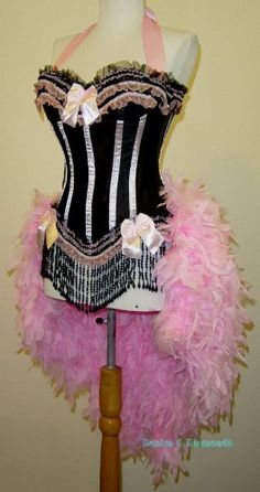 M-Pink & Black Victorian Lace Moulin Rouge Burlesque Showgirl Costume
