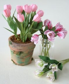 Miniature Tulips - Miniature Flowers for Dollhouses, Fairy Houses,  etc...by Pascale Garnier via Wee Cute Treasures Blog