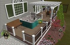 This would be great for our deck... Just replace the hot tub with a sliding glass door...