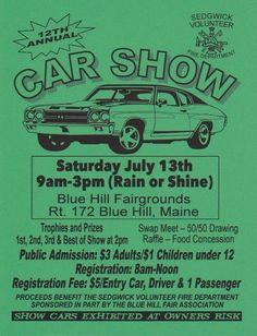 12th Annual Car Show | July 13th | Blue Hill, Maine