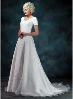 A-Line/Princess V-neck Court Train Satin Organza Wedding Dress With Beading Appliques Lace - MADE TO ORDER