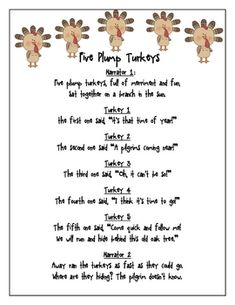 A reader's theater created for first and second grade from the poem Five Plump Turkeys.  Students will enjoy reading from this one page script and ...