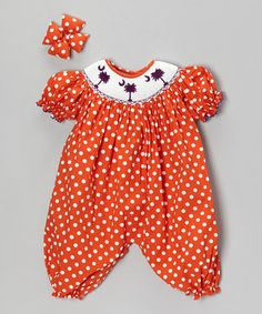 Take a look at this Orange Polka Dot Bubble Romper & Bow Clip - Infant by Molly Pop Inc. on #zulily today!