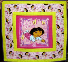 """Beautiful Dora child's quilt measures 34""""X33"""" and sells for $35."""