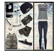 """Black Grey and White Set"" by jinxkathrinestitched ❤ liked on Polyvore"