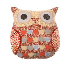Roxie Owl Cushion with Inner Shabby Chic Cushions, Cute Cushions, Vintage Cushions, Decorative Cushions, Owl Pillows, Animal Cushions, Owl Cushion, Red Owl, Owl Quilts