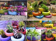 colourful tyre garden planters