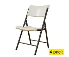 Lifetime Chairs - 480074 Almond Heavy Contemporary Chair - 4 Pack