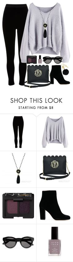 """Lilac & Black"" by marleylilly ❤ liked on Polyvore featuring River Island, NARS Cosmetics, Givenchy and Avon"