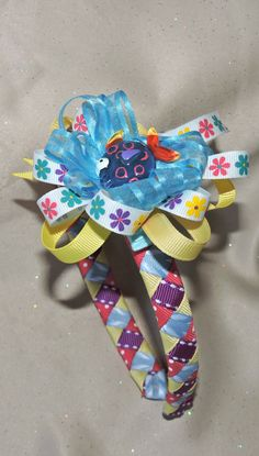 Blue Fish Girls Headband with Coordinating, Detachable Bow by AdelaidDesigns on Etsy
