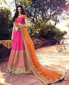 Pink zari and resham embroidered lehenga with orange embroidered dupatta   1. Pink silk net heavy embroidered lehenga2. Zari resham and stone embroidery with golden gotta border , zari and resham embroidered blouse3. Comes with matching dupatta, lehenga Have Ken Ken Inside4. Can be stitched upto size 44 inches