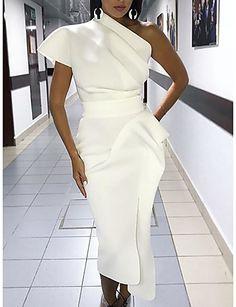 Femme Midi Moulante Robe - Franges, Couleur Pleine Blanc Noir Jaune M L XL Sans Manches de 7151723 2019 à €22.19