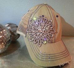 Olive Pique Khaki Flower Rhinestone Bling Trucker Baseball Hat Cap The Buckle | eBay