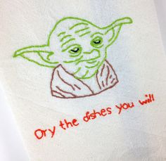 Star Wars Yoda Embroidered Kitchen Towel by SnarkyOwl on Etsy, $20.00