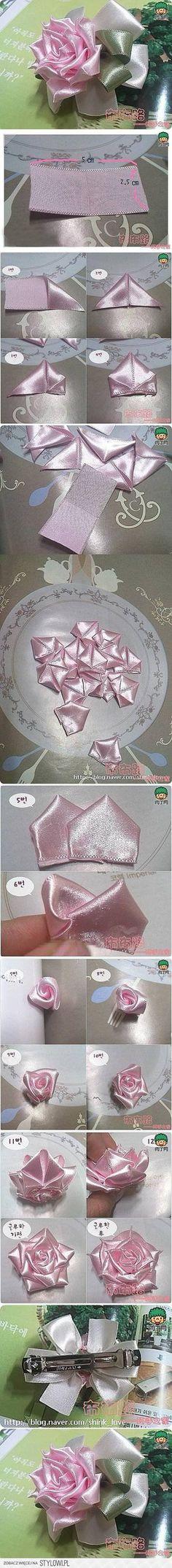 DIY Easy Satin Ribbon Rose Hairpin DIY Projects | Usefu… na Stylowi.pl