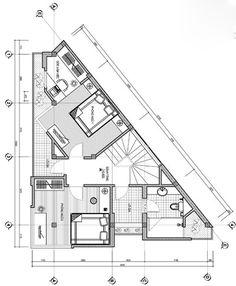 Xây nhà trên khu đất có hình tam giác Triangle House, Studio Condo, Hillside House, House Map, Corner House, Floor Layout, Small Studio, Room Planning, Design Case