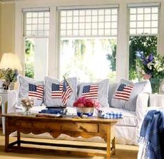 American Flag Pillows, and LOVE the cute table!!