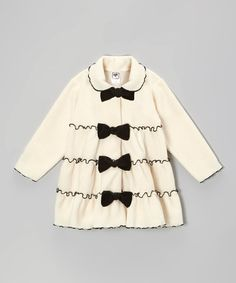 Take a look at this Cream Tiered Bow Jacket - Infant, Toddler & Girls by Mulberribush on #zulily today!