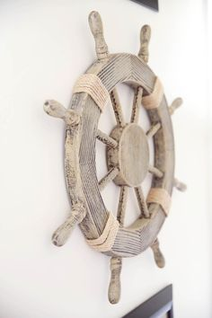 Neverland Nursery - Project Nursery : Nautical Nursery Decor - we love this ship steering wheel as wall decor from Pirate Nursery, Neverland Nursery, Nautical Nursery Decor, Nautical Home, Nursery Themes, Themed Nursery, Beach Theme Nursery, Nautical Interior, Nursery Décor