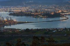 Panorámica de Ferrol desde el Coto do Rei, Fene. La Coruña, España.