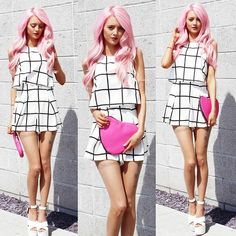 Kirsty Mooney - In The Style Playsuit, Asos Heart Clutch, Fashion Union White Pu Leather Shoes - Monochrome and Pink