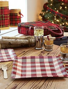 WOODLAND PLAID PAPER TABLEWARE by Design Design Design Design, Woodland, Gift Wrapping, Plaid, Entertaining, Paper, Tableware, Holiday, Gifts