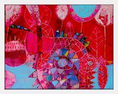 Elke Trittel acrylic collage on board 40x50cm