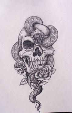 skull_snake_roses_by_davart11-d344o2q.jpg (1245×1941)