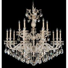 Schonbek Milano 15 Light Crystal Chandelier Finish: Heirloom Gold