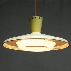 Louis Kalff; #NB92 Enameled Aluminum and Fiberglass Ceiling Light for Philips, 1950s.