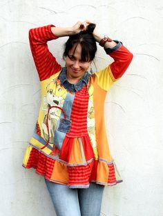 Crazy funny pop art recycled denim ress tunic hippie by jamfashion, $91.00
