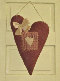 Burlap Primitive Heart Hanging - Valentine's Day - Door Greeter - Wall Decor - Wedding - Anniversary