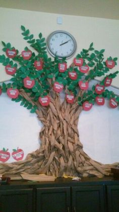 Preschool birthday board on pinterest birthday display for Apple tree classroom decoration