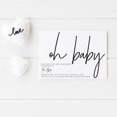 Printable invitations, Party printables, Baby shower invitations, Party supplies, Party decor, Oh Baby Unisex Invite, Digital invitation by JakbernCreative on Etsy