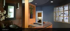 Color and warmth can look modern- very inviting office space.   -blue walls -window panes let light in