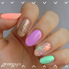 Bright and colorful spring mani  | Check out http://www.nailsinspiration.com for more inspiration!