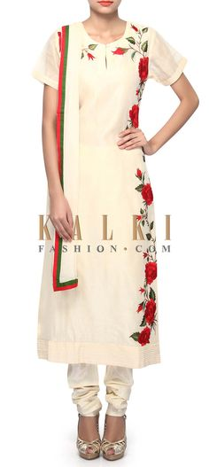 Buy Online from the link below. We ship worldwide (Free Shipping over US$100). Product SKU - 305659.Product Link - http://www.kalkifashion.com/straight-suit-in-cream-enhanced-in-rose-motif-embroidery-only-on-kalki.html