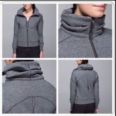Lululemon Hug It Out jacket Heathered Speckled Black. Excellent preloved condition. Thick cotton fleece. High collar. Side pockets. Slim fit. Hip length. No trades. No PayPal. lululemon athletica Jackets & Coats