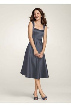 Grey Wide Strap Tea Length Pewter Satin Bridesmaid Dress G101