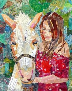 """Whitney 13076"" - Original Fine Art for Sale - © Nancy Standlee 20x16 torn paper collage commission"
