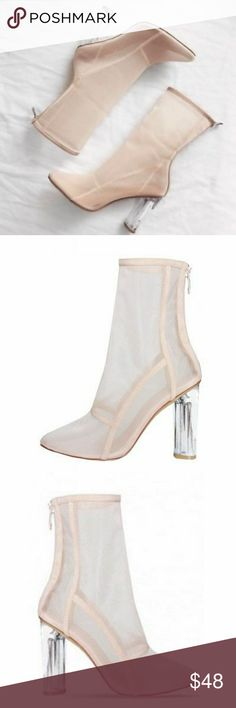 """Nude Sheer Mesh Ankle Boots Booties Lucite Perspex BRAND NEW, ORIGINAL BOX NOT INCLUDED   Material: Vegan Leather, Mesh  Color: Nude  Heel Height: 4.5"""" (approx)  Shaft Length: 10.5"""" (including heel) Top Opening Circumference: 9"""" (approx)  Fit: True To Size!  Get an instant edge in our new mesh boots. Featuring a pointed toe and perspex heel details. Style yours with a bodycon dress for a effortlessly fly look. AND DID I MENTION THAT THEY ARE SUPER COMFORTABLE????? solewish Shoes Ankle Boots…"""