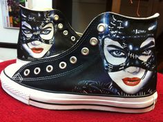 Hand painted Catwoman on the side of a Chuck Taylor. It doesn't get much cooler than this!