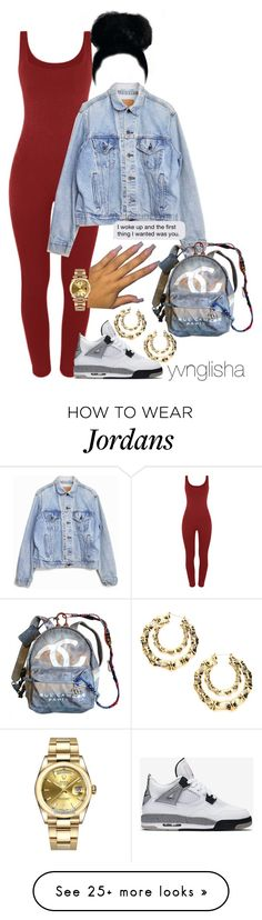 """did my makeup, but have no where to go"" by yvnglisha on Polyvore featuring Levi's, Rolex, NIKE and Chanel"