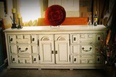 Distressed white dresser with tobacco glaze by SavvySusanne, $275.00