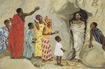 Art in the Christian Tradition: Jesus raises Lazarus to life, by JESUS MAFA. Larger image available at website.